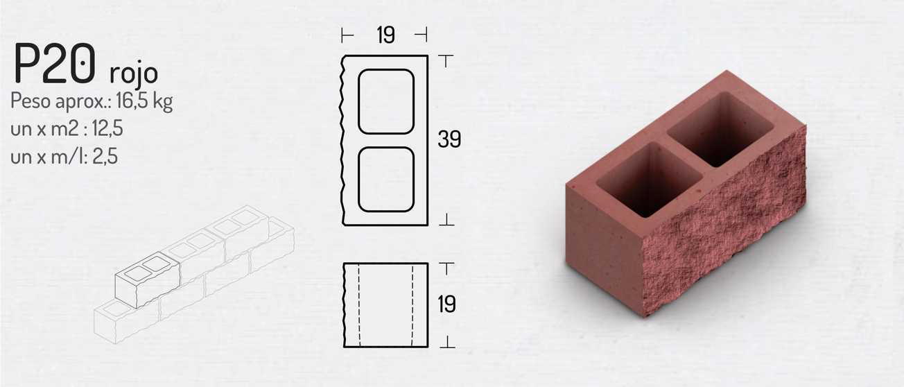 P20 Rojo – Bloques de Hormigón