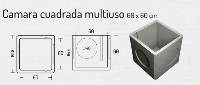 Camara Cuadrada Multiuso 60x60cm
