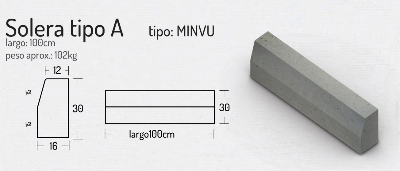 Solera Tipo A (MINVU) – Soleras y Solerillas