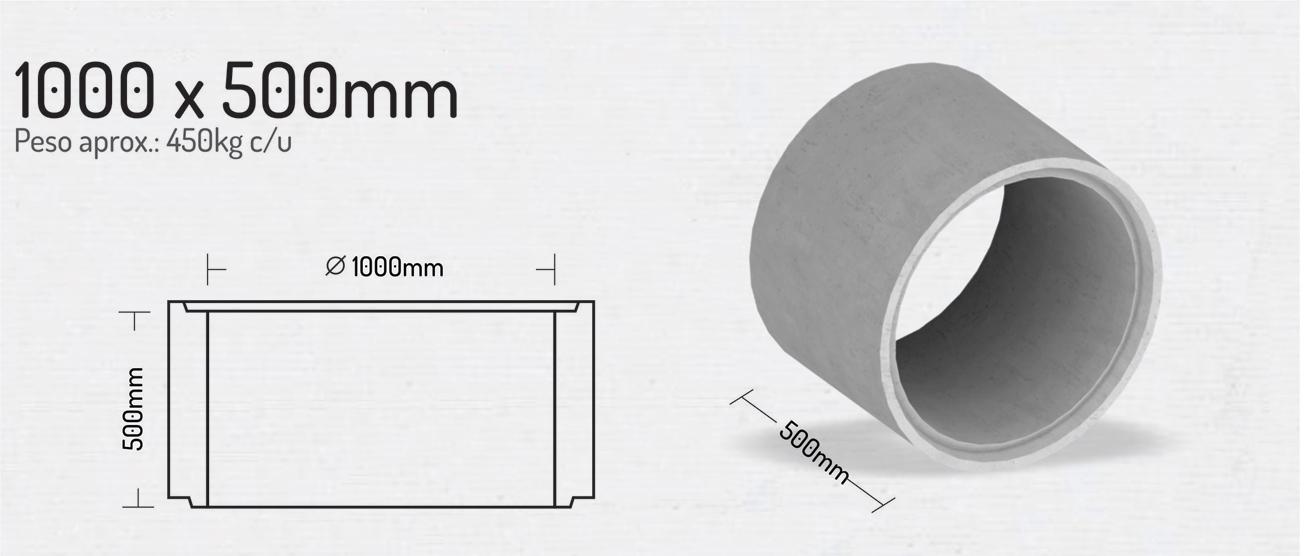 1000x500mm – Tubos