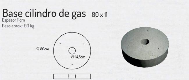 Base Cilindro de Gas 80x11cm
