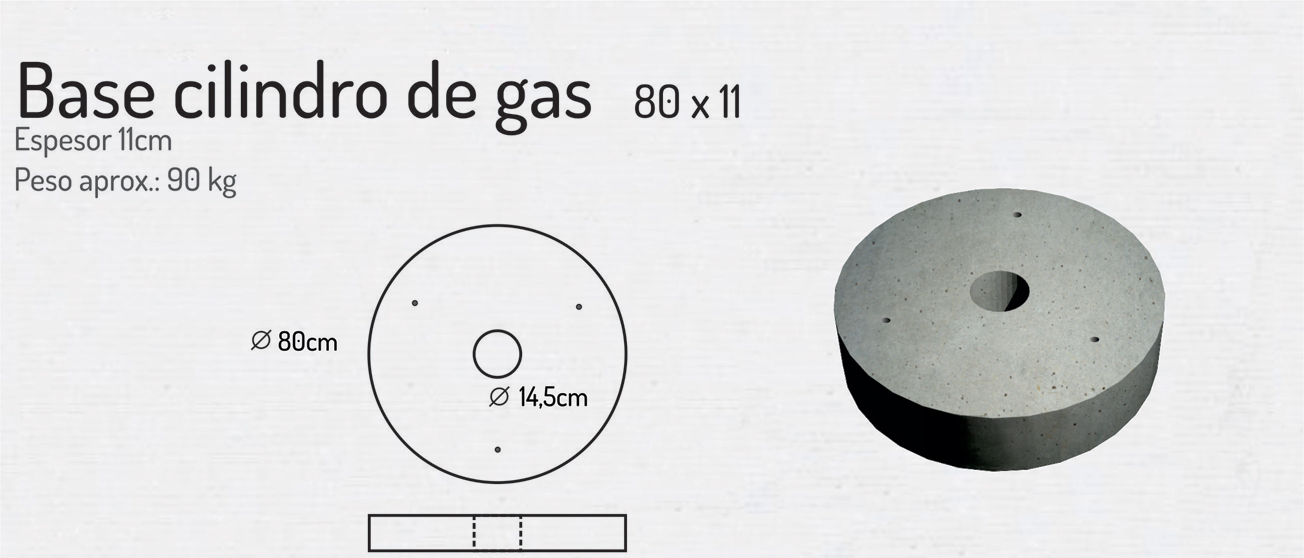 Base Cilindro de Gas 80×11 – Piezas de Hormigón