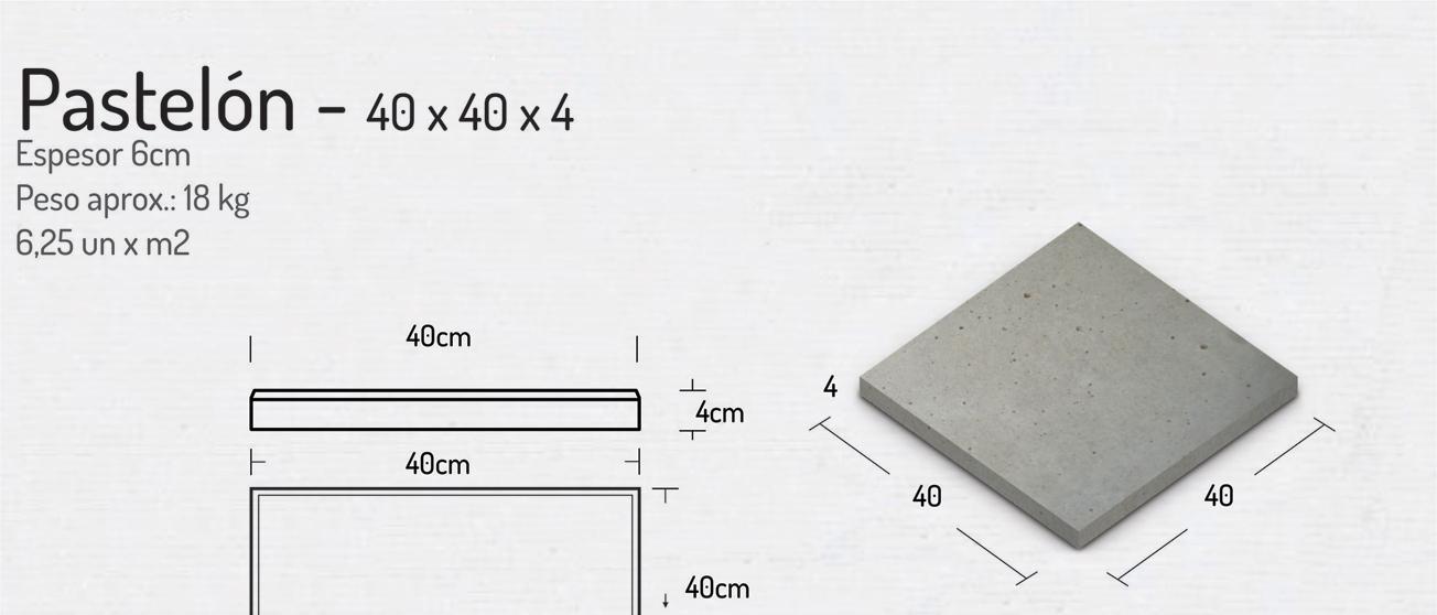 Pastelón 40x40x4 – Pavimentos