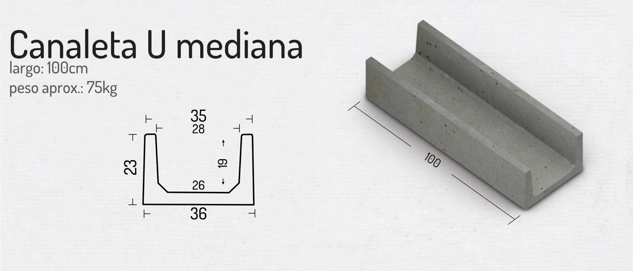 Canaleta U Mediana – Piezas de Hormigón