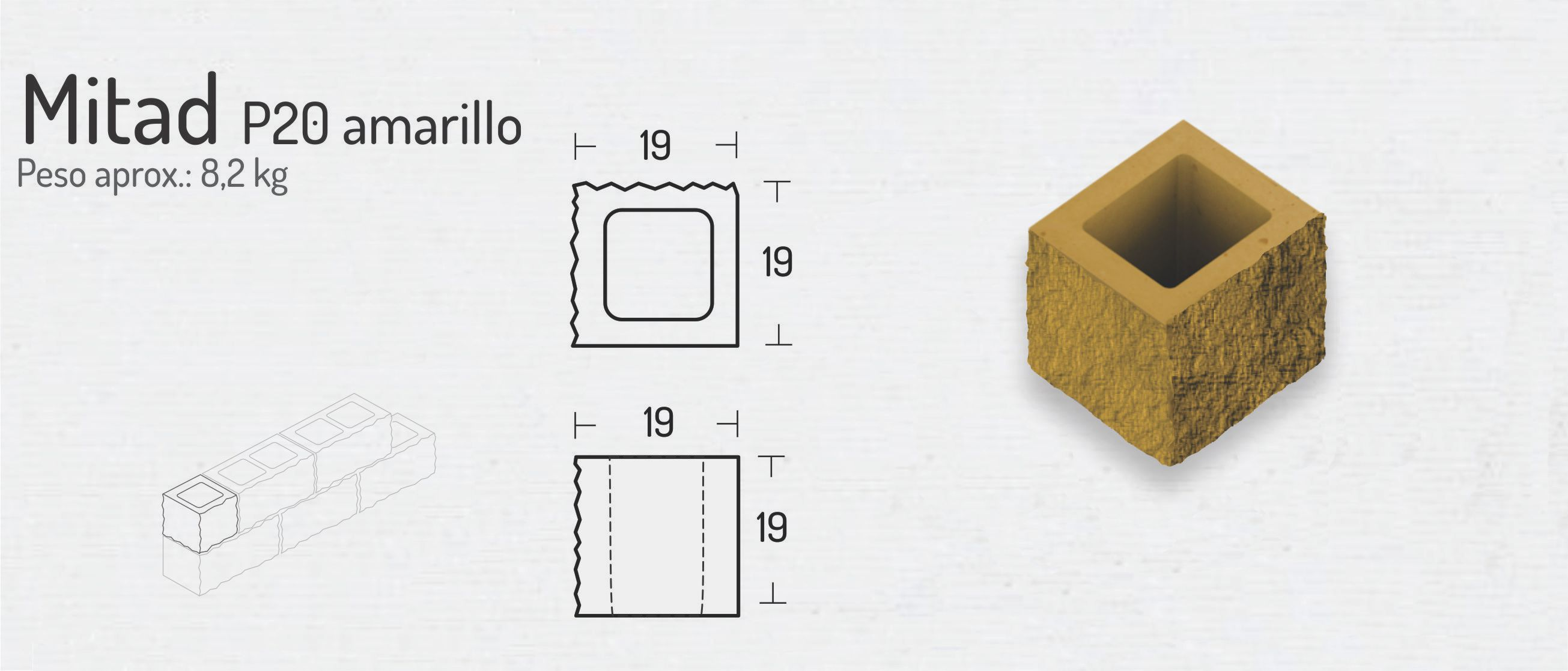 Mitad P20 Amarillo – Bloques de Hormigón