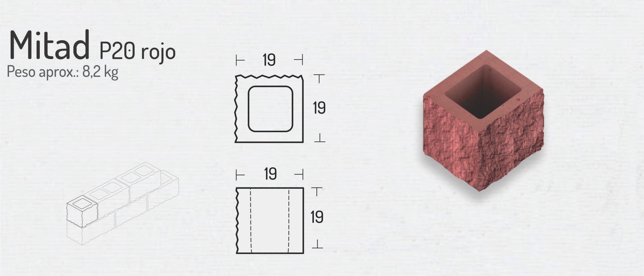Mitad P20 Rojo – Bloques de Hormigón
